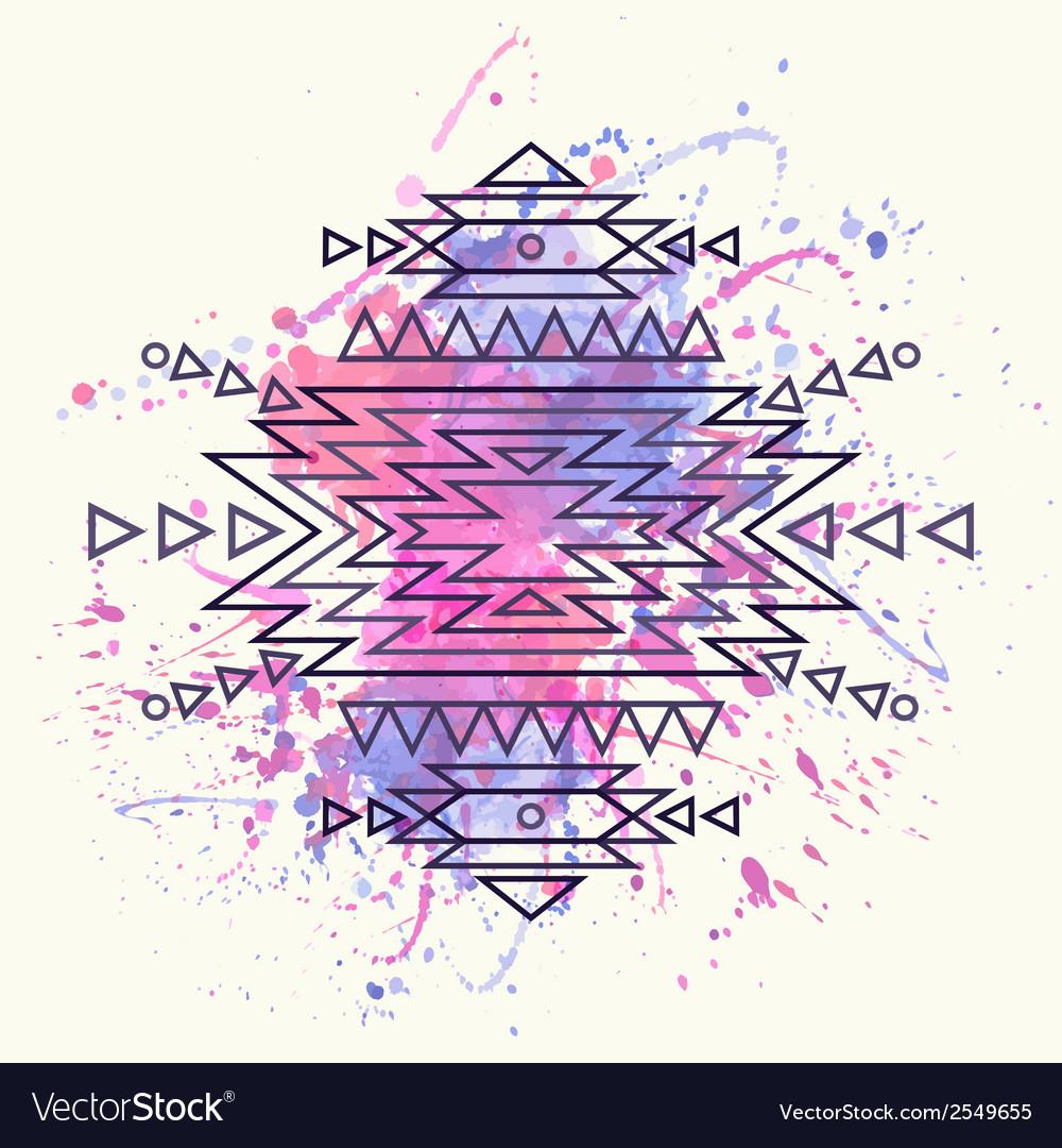 Decorative ethnic pattern with watercolor splash vector   Price: 1 Credit (USD $1)
