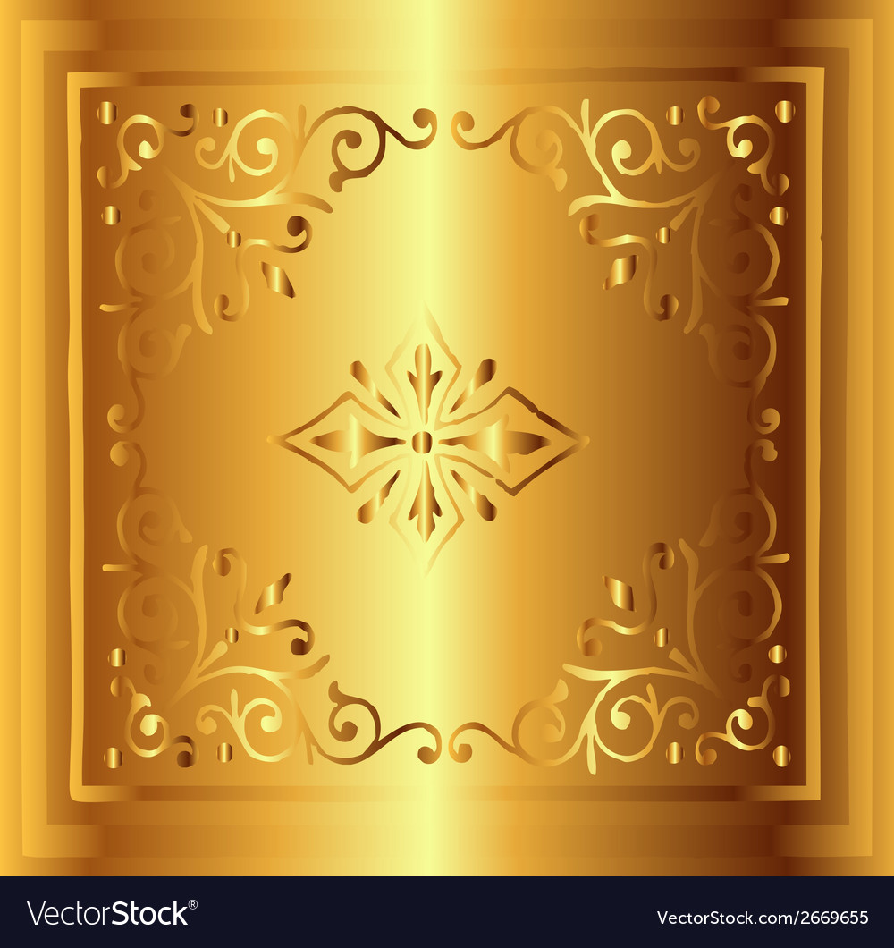 Hand drawn sketch gold background retro floral vector | Price: 1 Credit (USD $1)