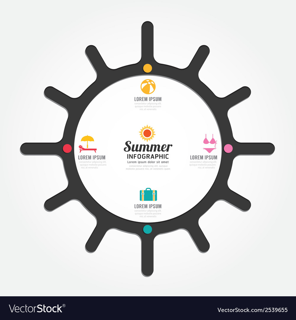 Infographics sun design summer concept vector | Price: 1 Credit (USD $1)