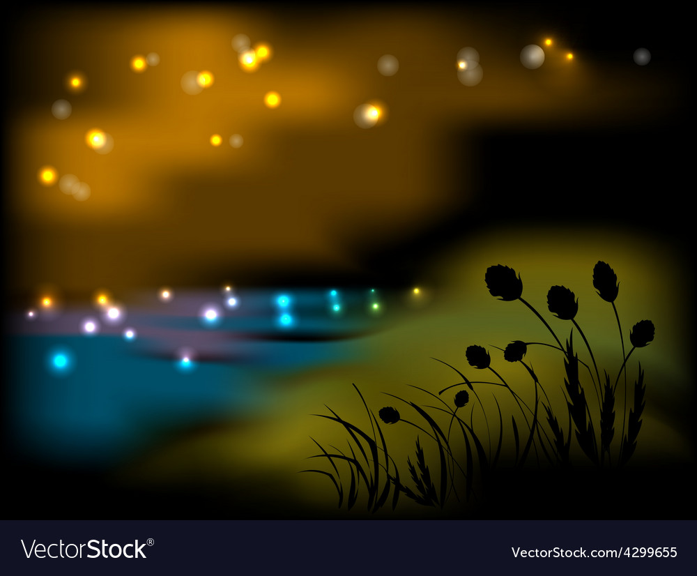 Night landscape with flowers and grass vector | Price: 1 Credit (USD $1)