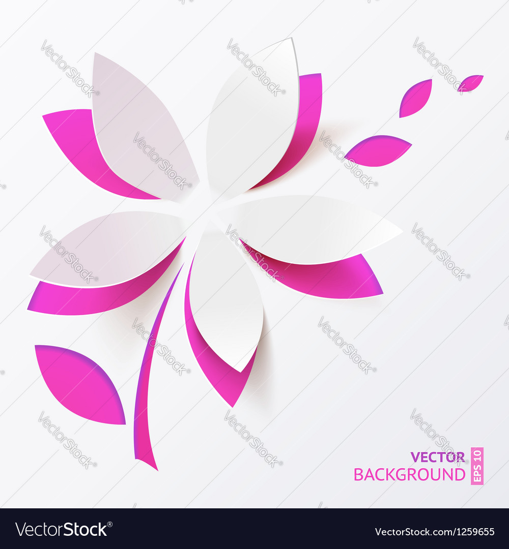 Pink paper flower greeting card template vector | Price: 1 Credit (USD $1)