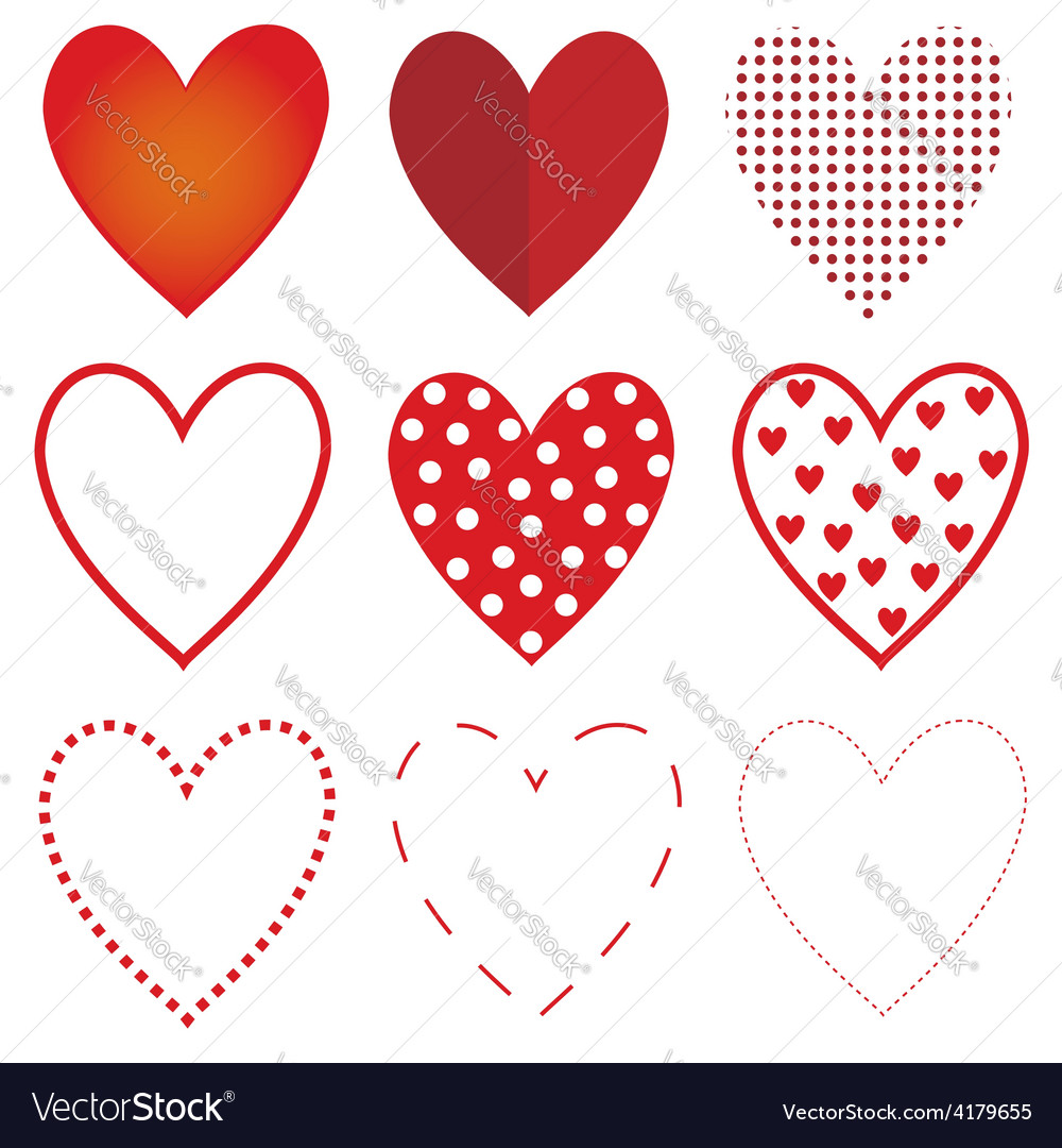 Red heart set vector | Price: 1 Credit (USD $1)