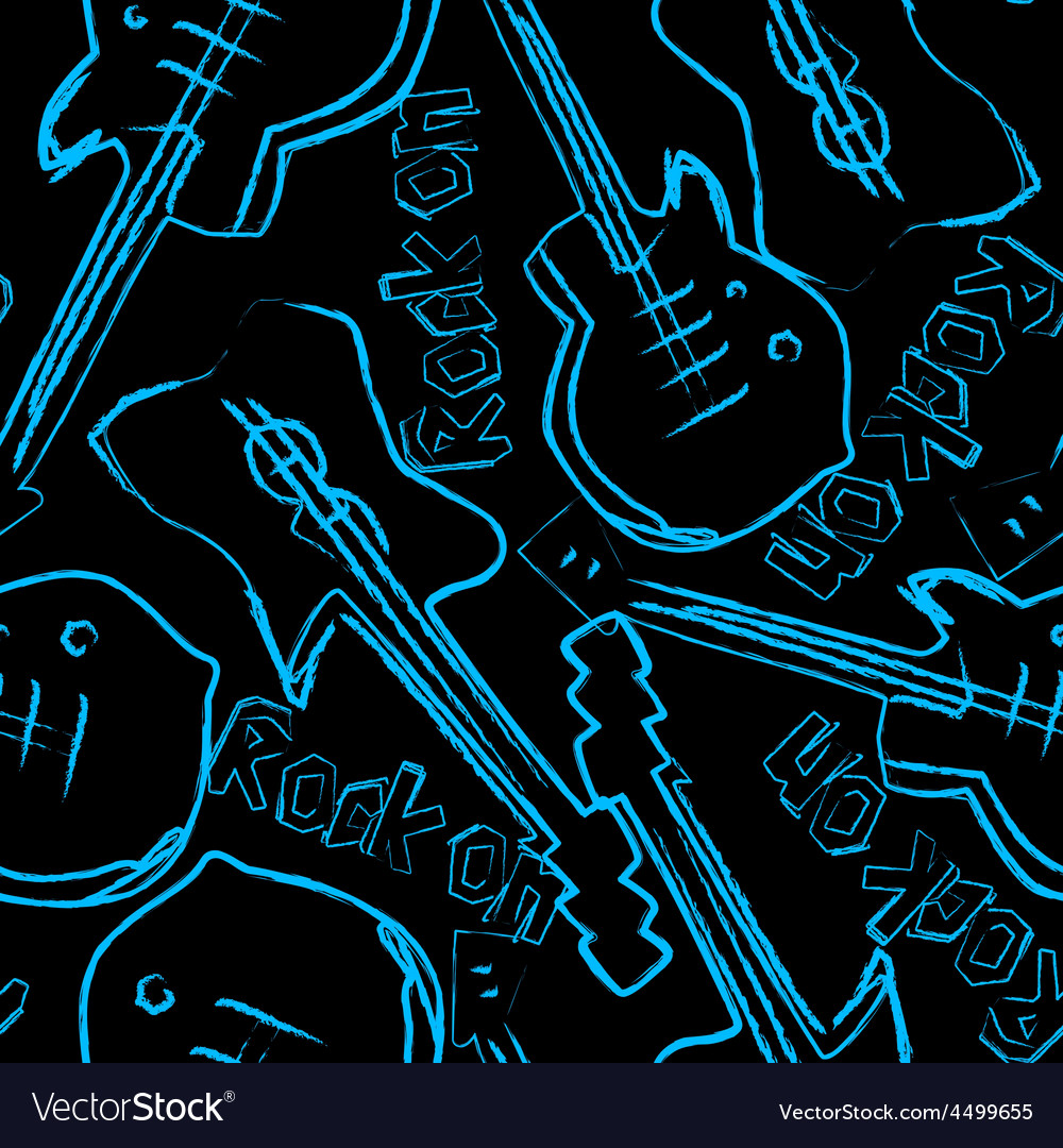 Rock guitars in a seamless pattern vector | Price: 1 Credit (USD $1)