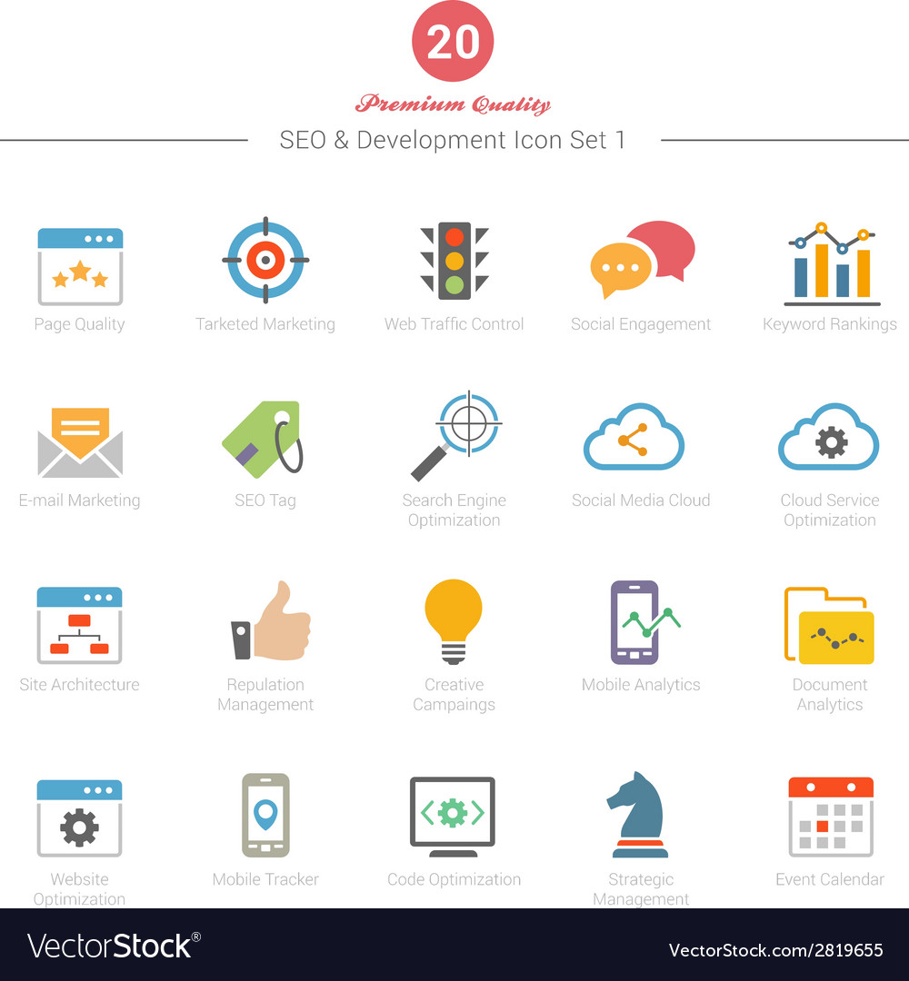 Set of full color seo and development icons set 1 vector | Price: 1 Credit (USD $1)