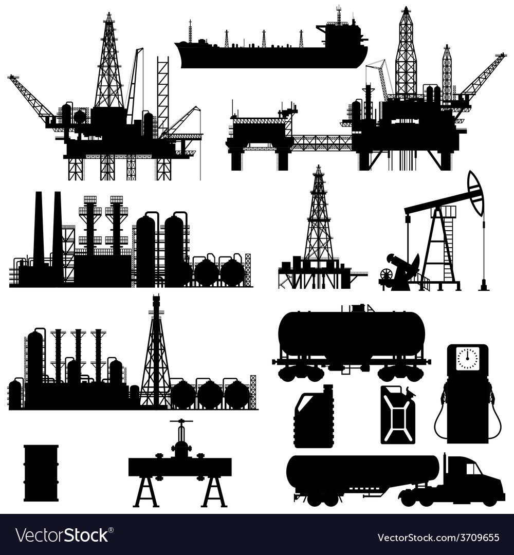 Silhouettes of oil idustry vector | Price: 1 Credit (USD $1)