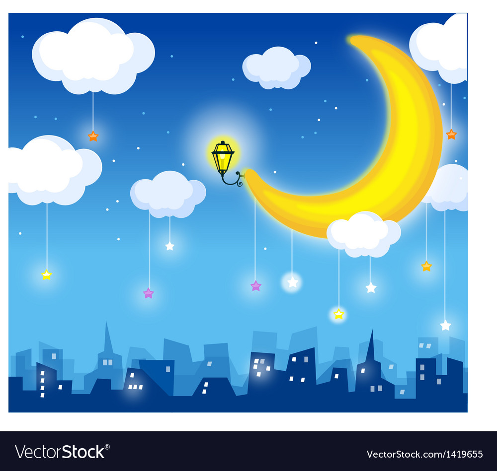 Skyline moon vector | Price: 1 Credit (USD $1)