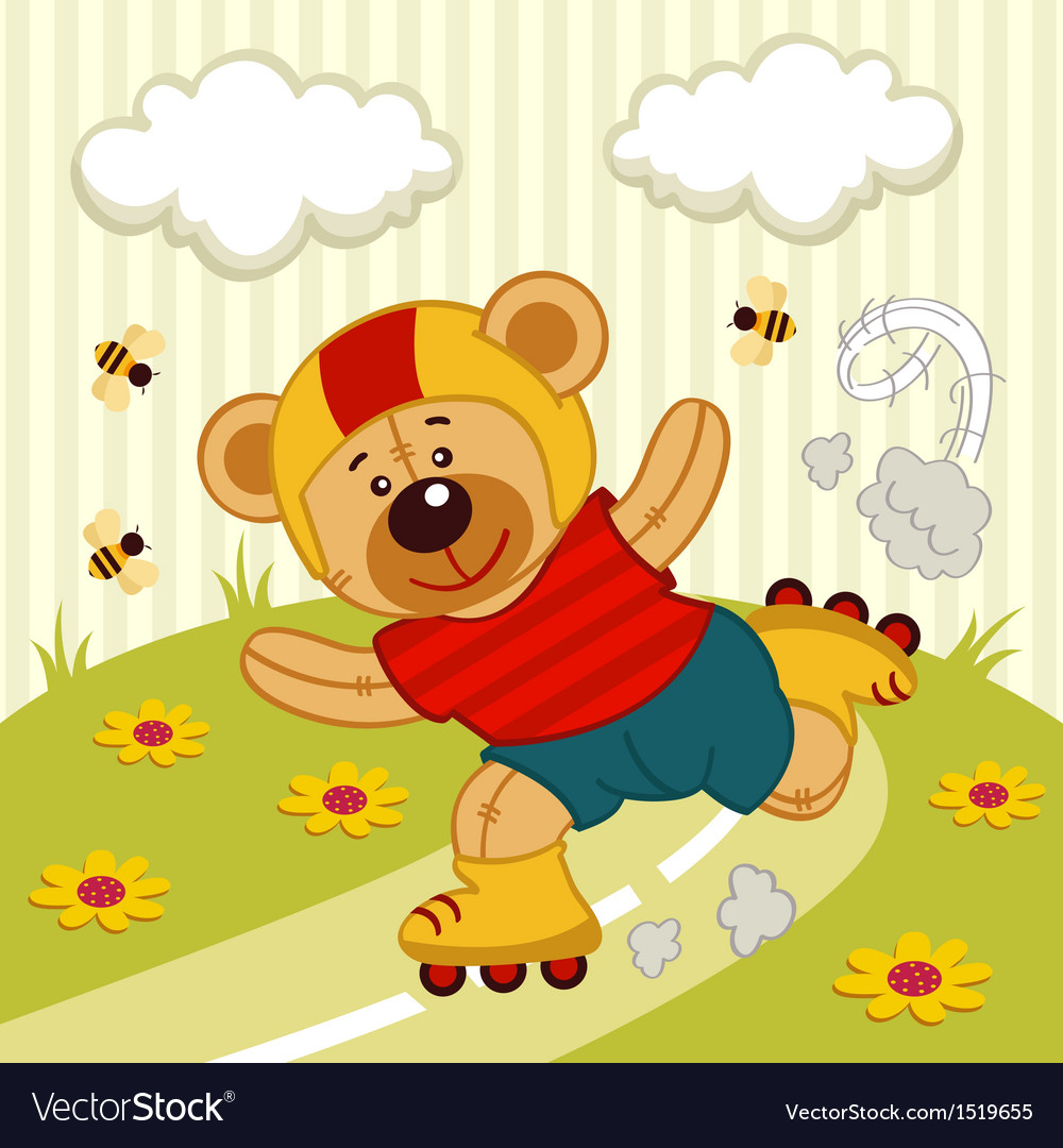 Teddy bear on a skating vector | Price: 3 Credit (USD $3)