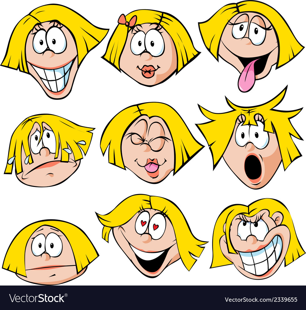 Woman emotions - of woman with many facial vector | Price: 1 Credit (USD $1)