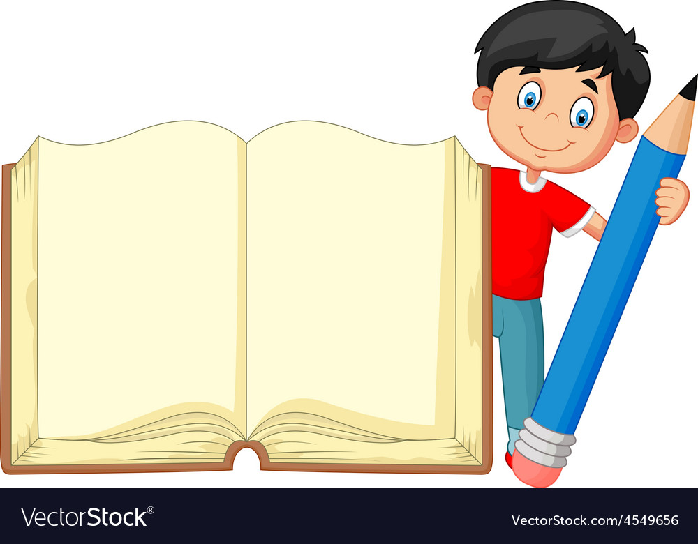 Cartoon boy holding giant book and pencil vector | Price: 1 Credit (USD $1)