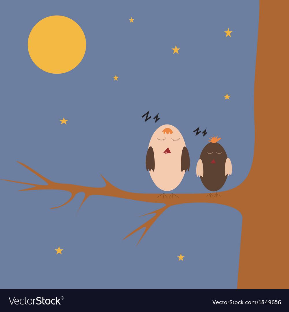 Cartoon sparrows on the tree vector   Price: 1 Credit (USD $1)