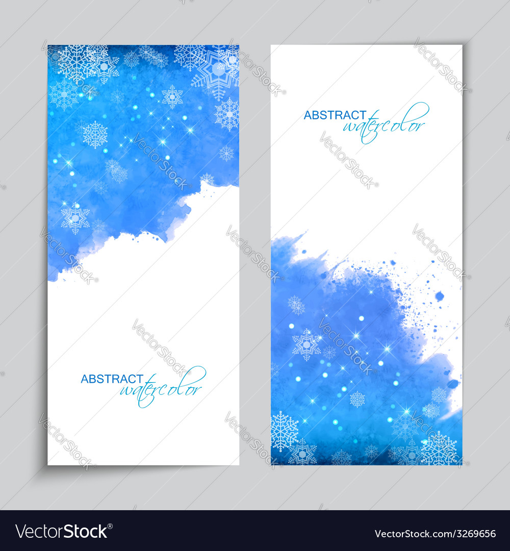 Christmas watercolor blue banners vector | Price: 1 Credit (USD $1)