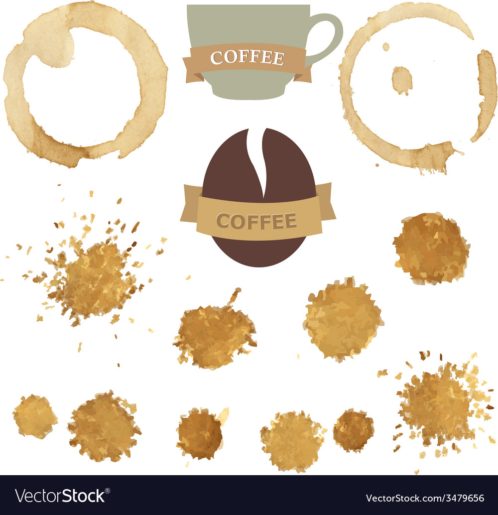 Coffee stains with symbols set vector | Price: 1 Credit (USD $1)