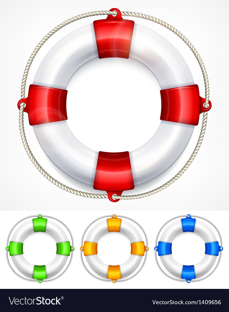 Color life buoy on white vector | Price: 1 Credit (USD $1)