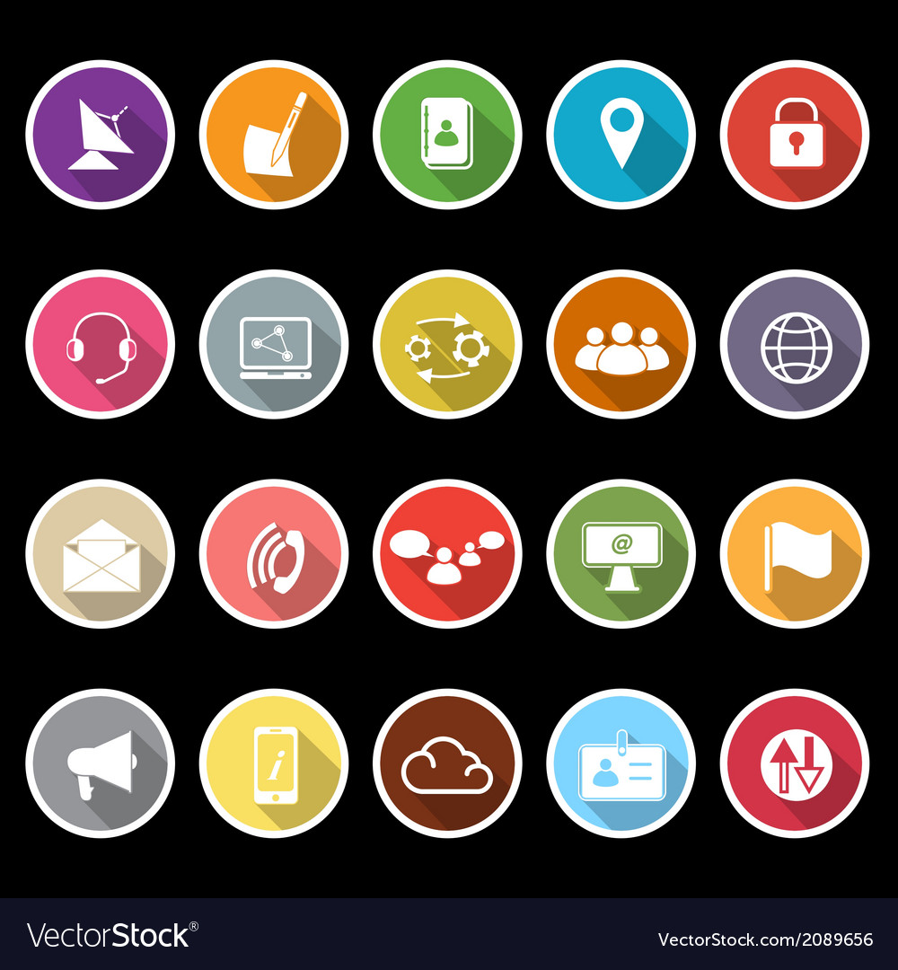 Communication icons with long shadow vector | Price: 1 Credit (USD $1)