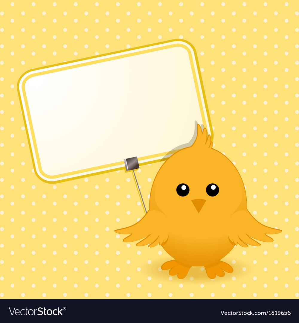 Easter chick and sign vector   Price: 1 Credit (USD $1)