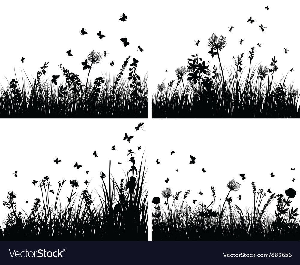 Grass silhouettes background set vector | Price: 1 Credit (USD $1)
