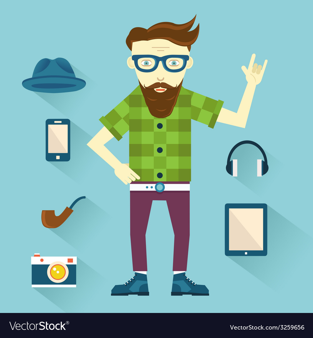 Hipster with hipster elements for design vector | Price: 1 Credit (USD $1)