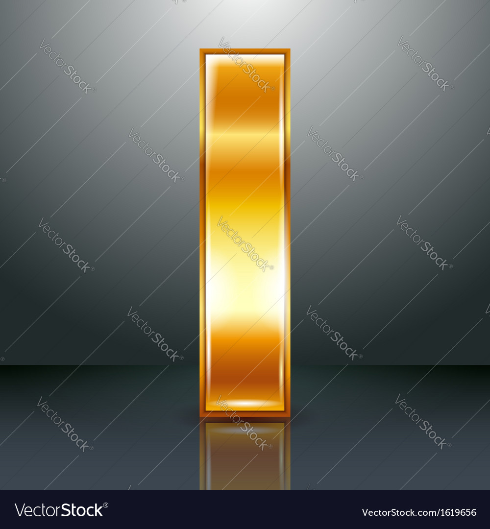 Letter metal gold ribbon  i vector