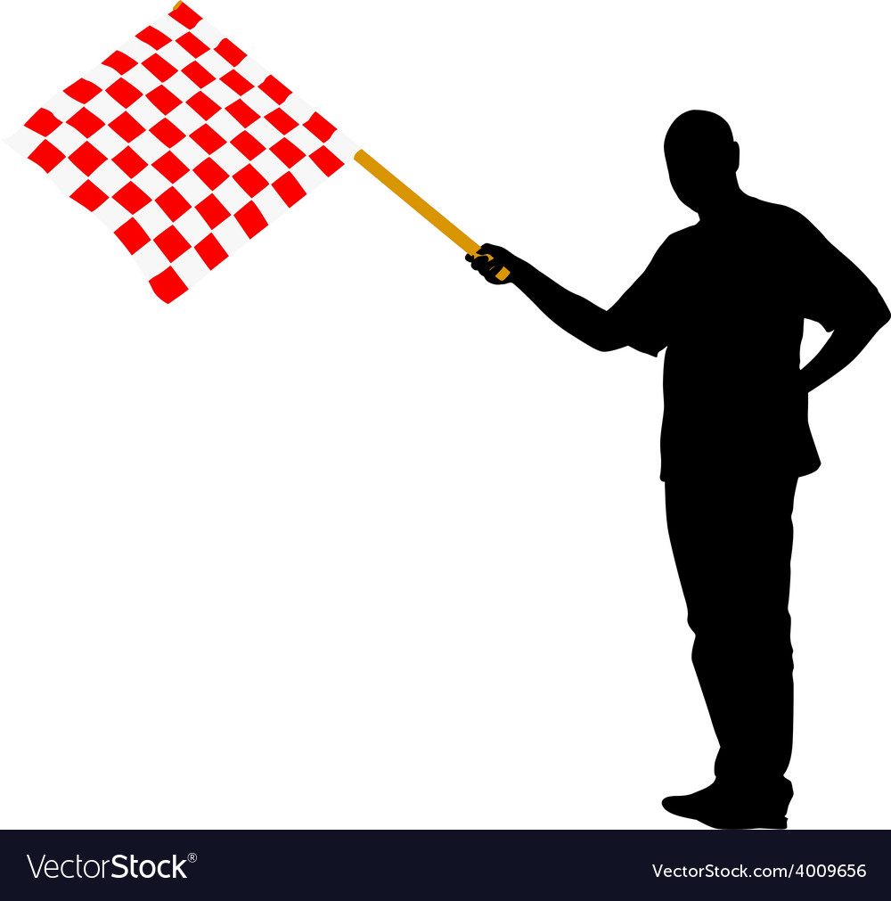 Man waving at the finish of the red white vector | Price: 1 Credit (USD $1)