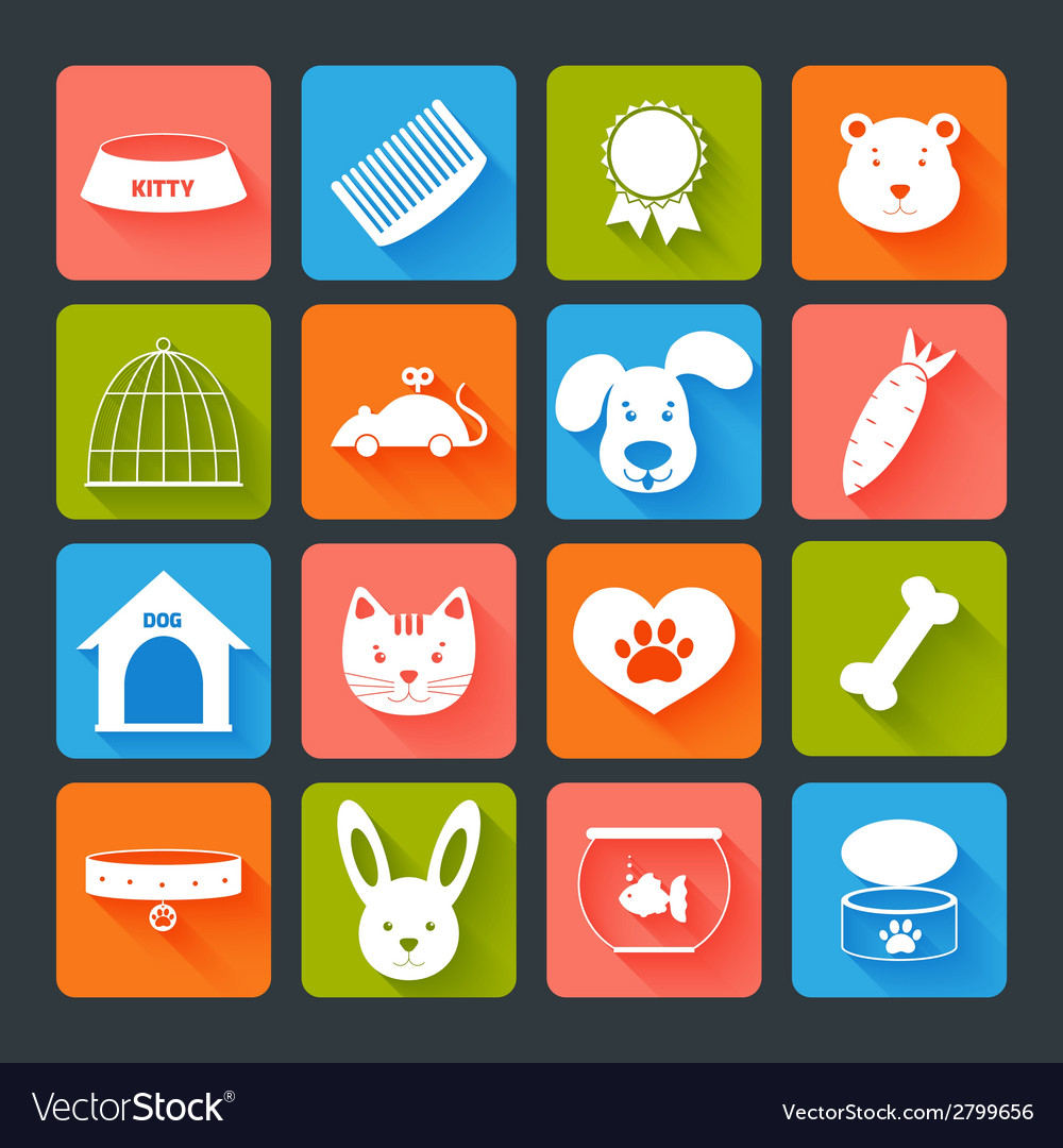 Pets icons set flat vector | Price: 1 Credit (USD $1)