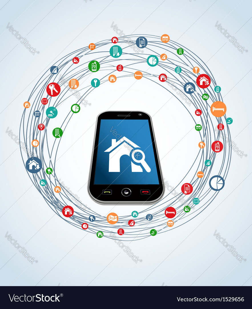 Real estate icons smart phone vector | Price: 1 Credit (USD $1)