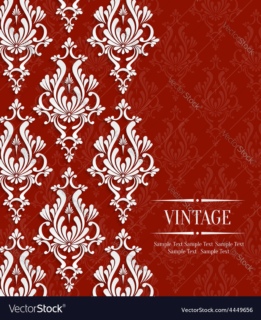 Red vintage invitation card with floral vector
