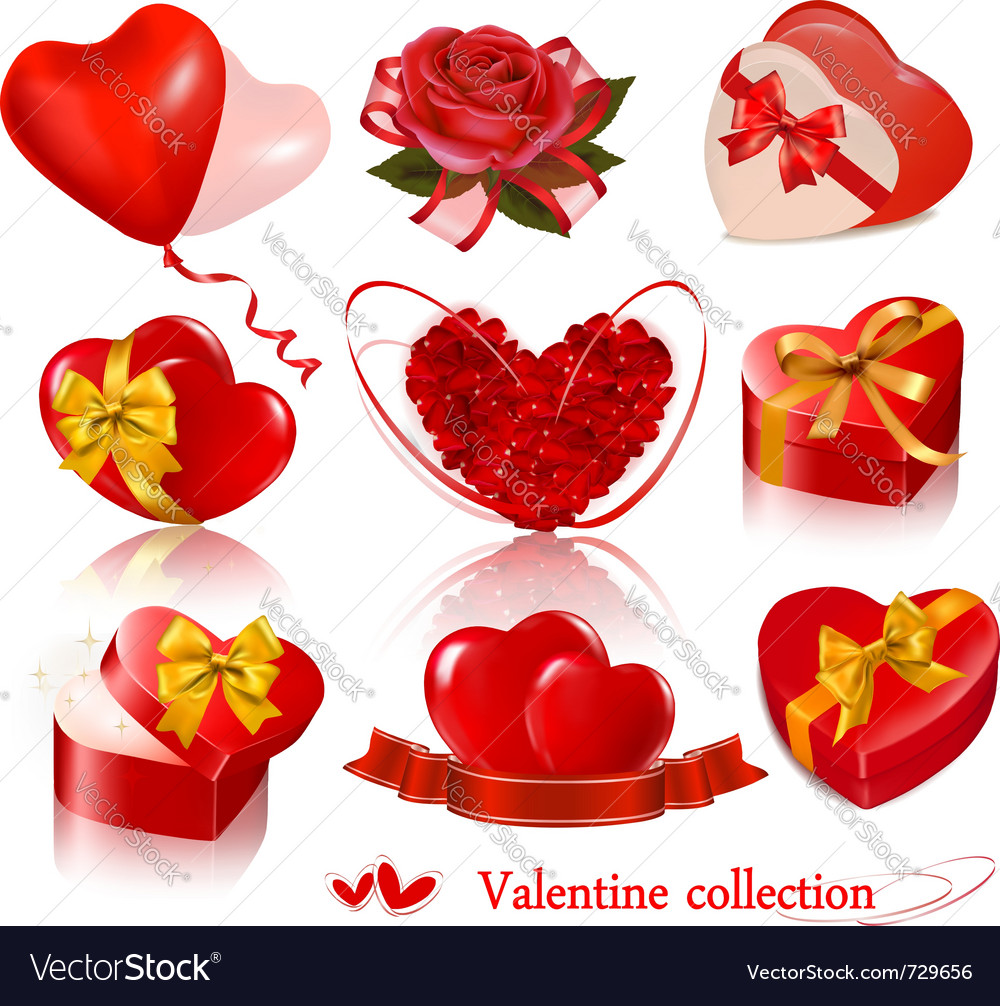 Set of valentine day elements vector | Price: 3 Credit (USD $3)
