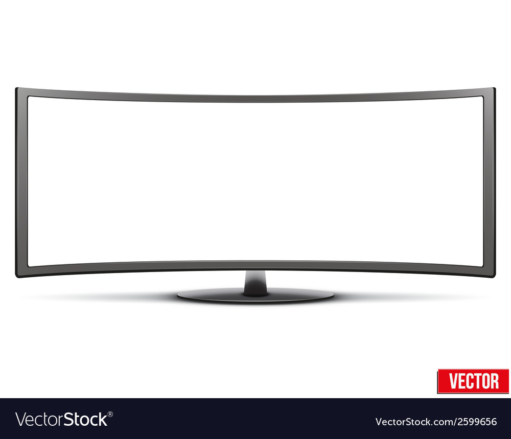 Template of big curved widescreen led or lcd tv vector | Price: 1 Credit (USD $1)
