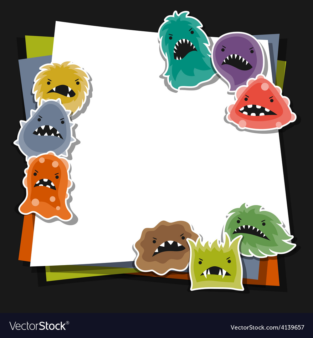 Background with little angry viruses and monsters vector | Price: 1 Credit (USD $1)