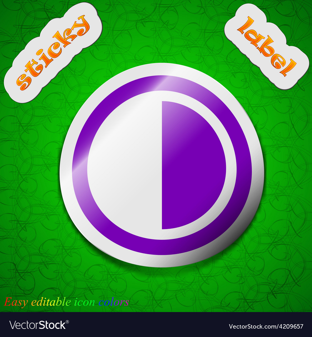 Contrast icon sign symbol chic colored sticky vector | Price: 1 Credit (USD $1)