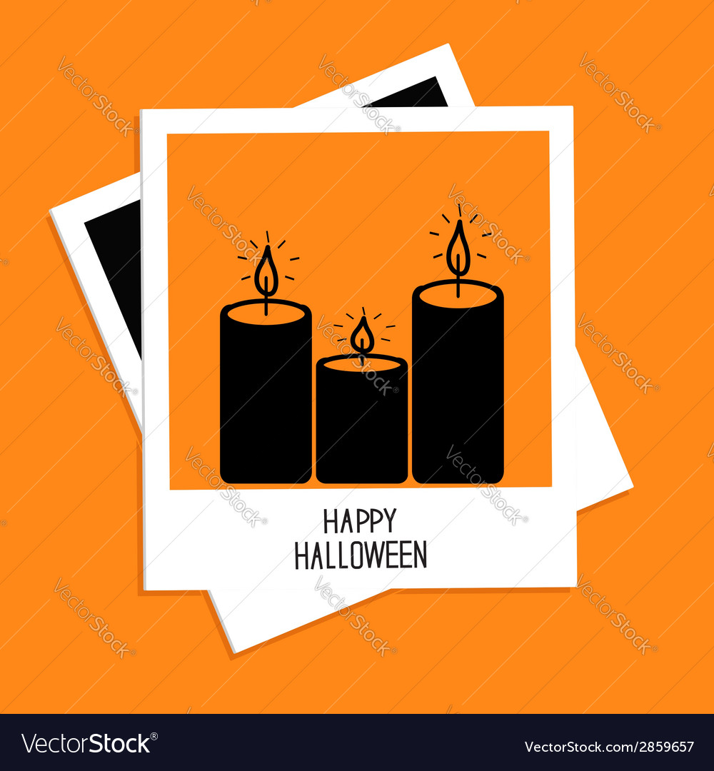 Instant photo with candle set happy halloween card vector | Price: 1 Credit (USD $1)