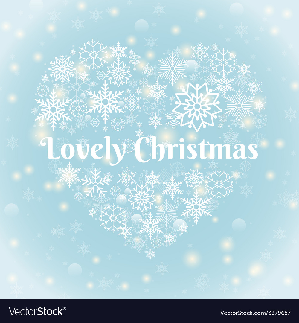 Lovely christmas texts on heart shape snowflakes vector   Price: 1 Credit (USD $1)