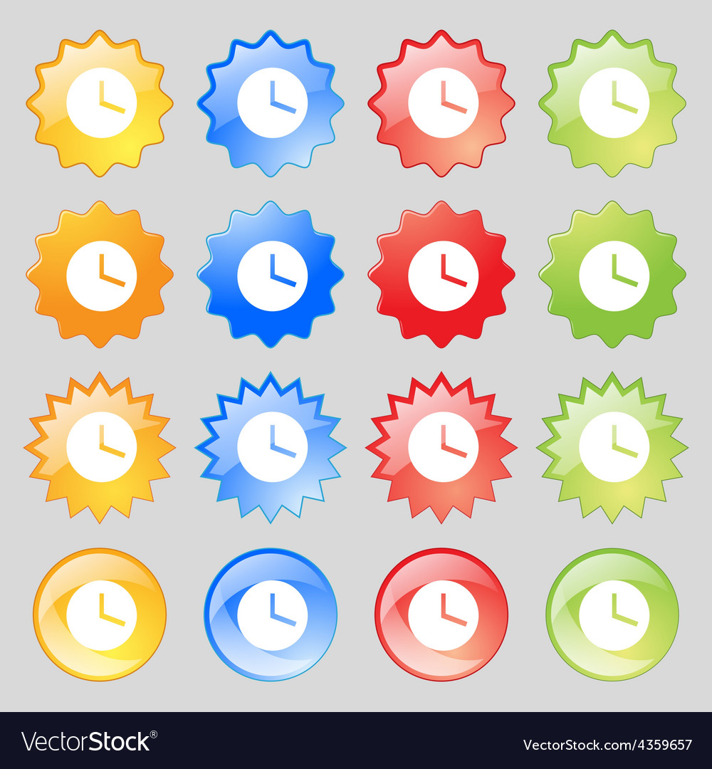 Mechanical clock icon sign big set of 16 colorful vector   Price: 1 Credit (USD $1)