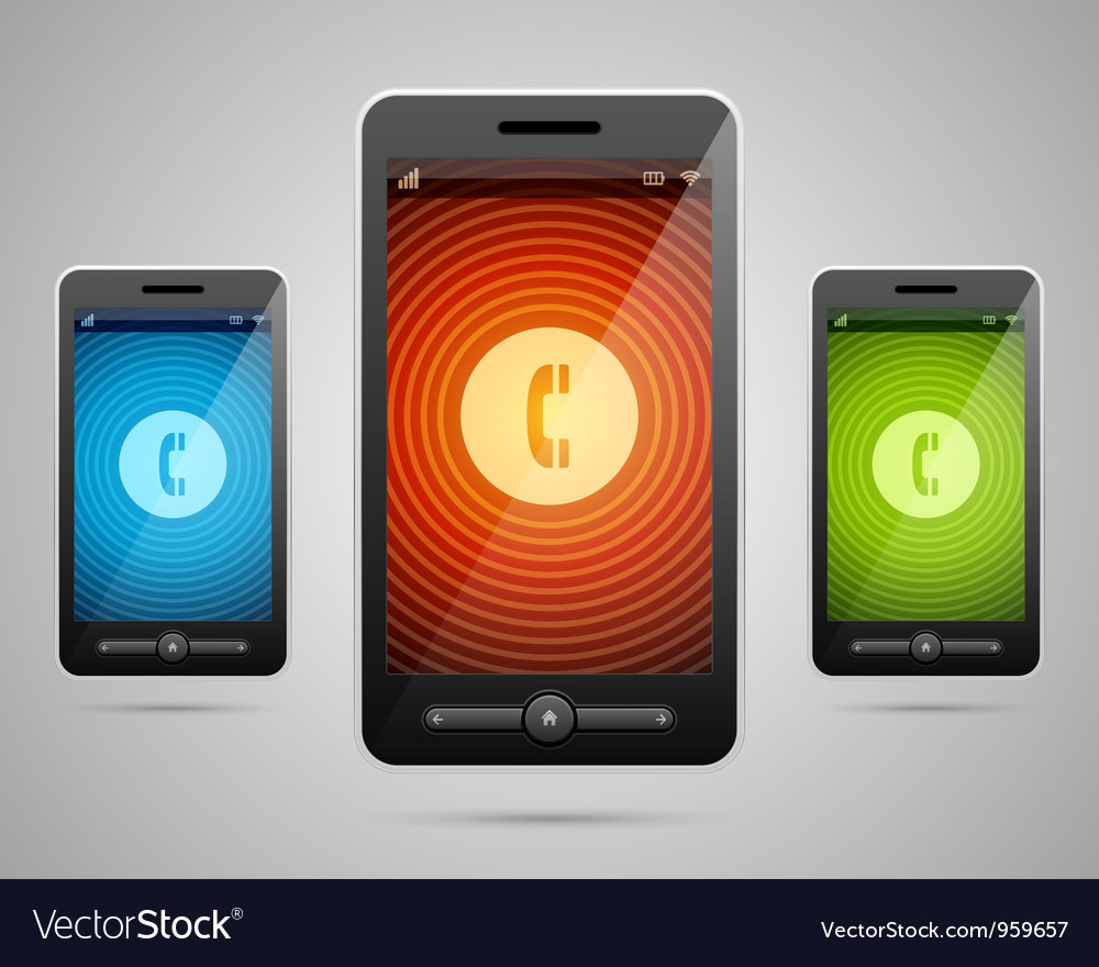 Mobile phone and incoming call cons vector | Price: 3 Credit (USD $3)