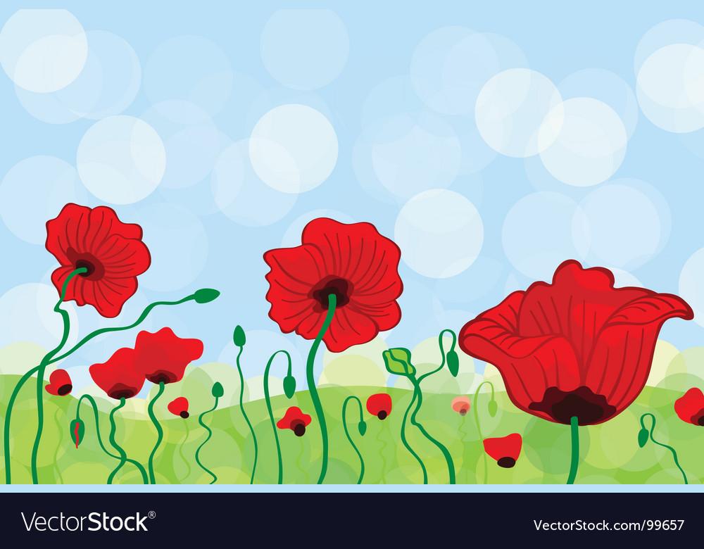 Poppy field vector | Price: 1 Credit (USD $1)