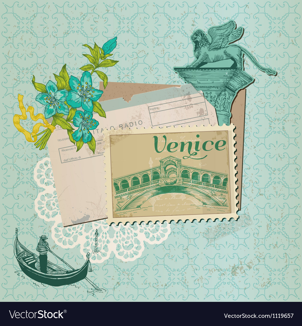 Scrapbook design elements - venice vintage card vector | Price: 1 Credit (USD $1)