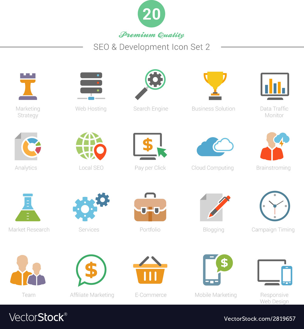 Set of full color seo and development icons set 2 vector | Price: 1 Credit (USD $1)