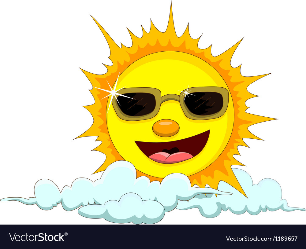 Sun cartoon with eyeglasses vector   Price: 1 Credit (USD $1)