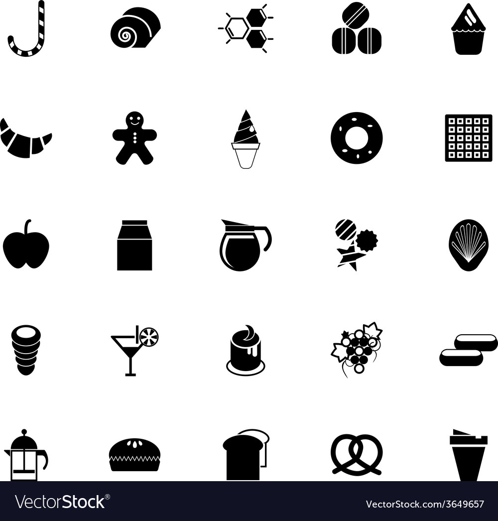 Sweet food icons on white background vector | Price: 1 Credit (USD $1)