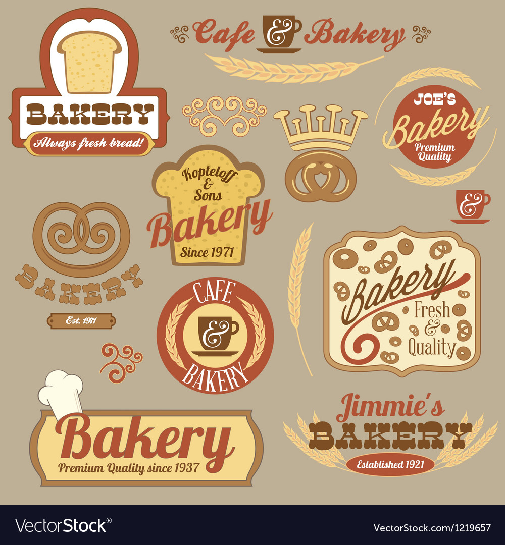 Vintage retro bakery logo badges vector | Price: 3 Credit (USD $3)