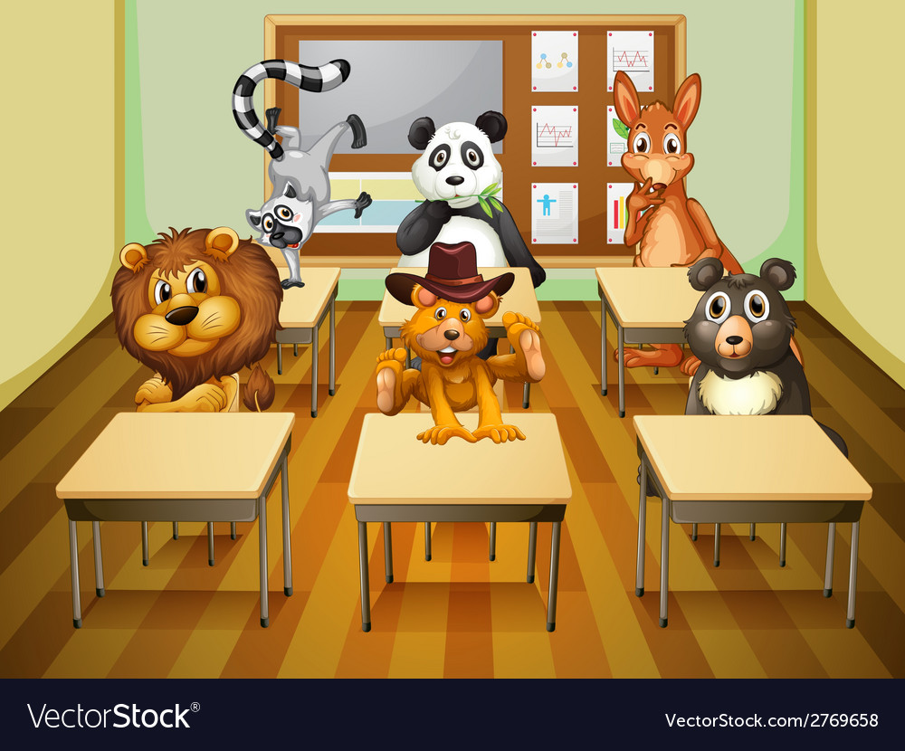 Aimals in classroom vector | Price: 1 Credit (USD $1)