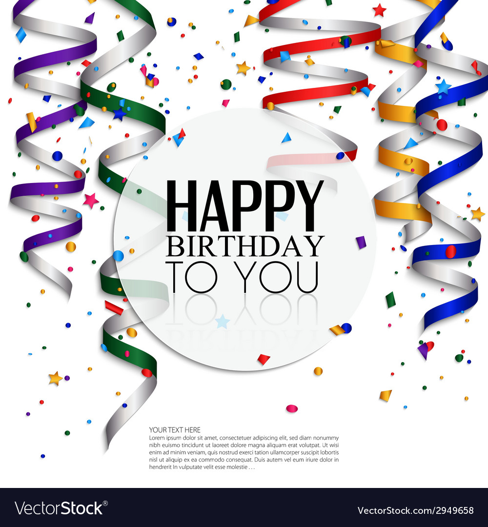 Birthday card with curling stream confetti and vector | Price: 1 Credit (USD $1)