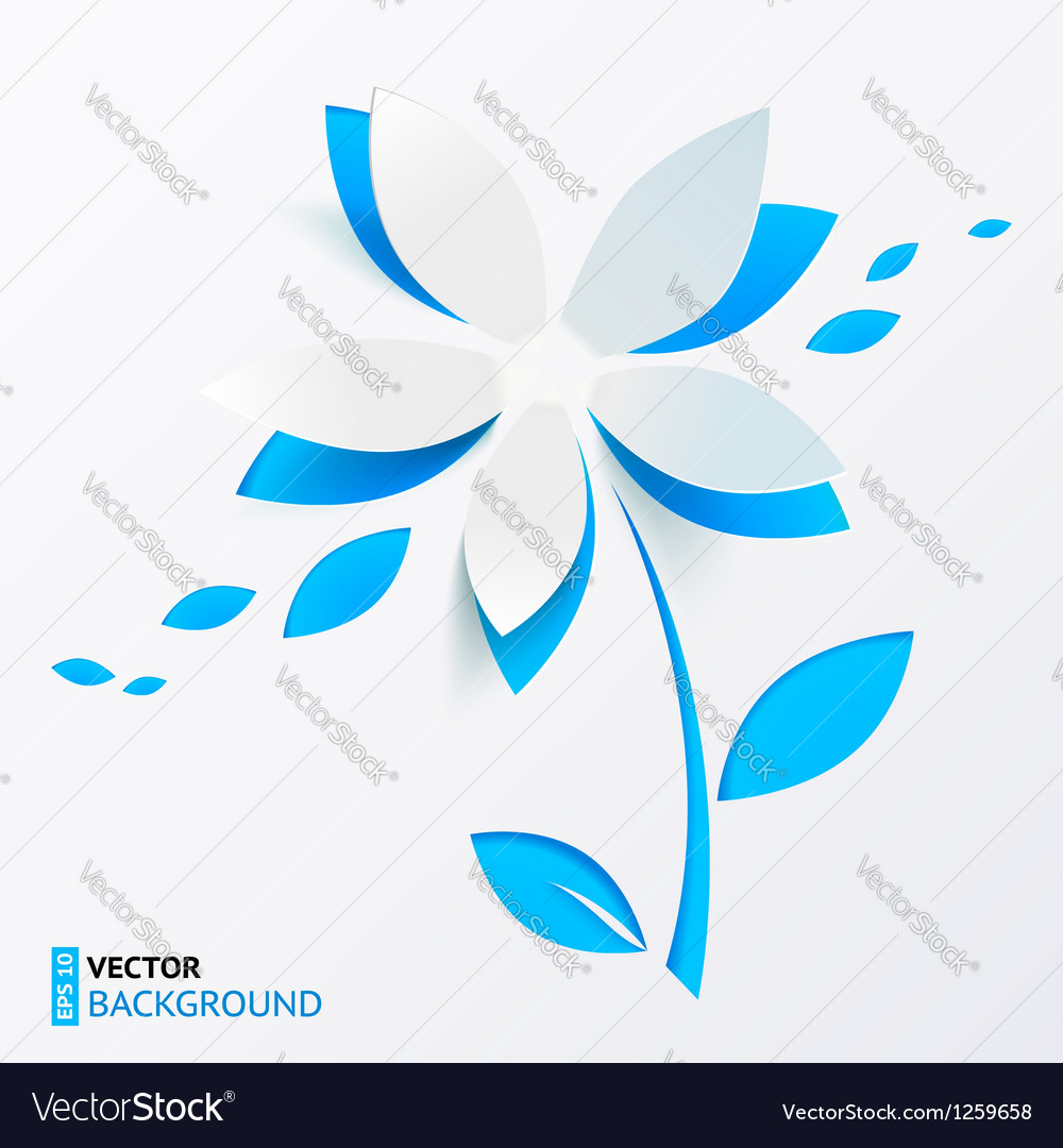 Blue paper flower greeting card template vector | Price: 1 Credit (USD $1)