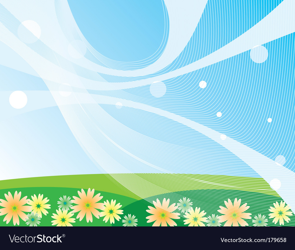 Blue sky and green meadow vector | Price: 1 Credit (USD $1)