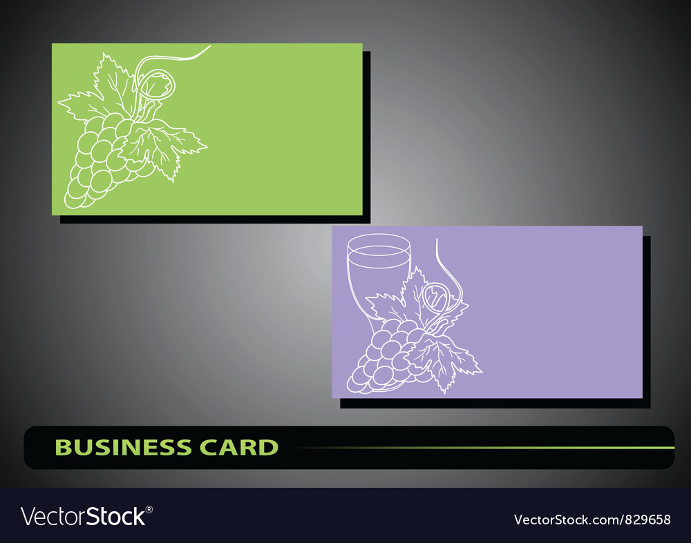 Business card with a bunch of grapes vector | Price: 1 Credit (USD $1)