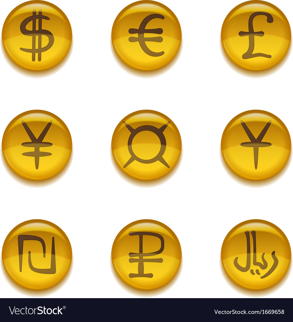 Buttons with currency signs set vector | Price: 1 Credit (USD $1)