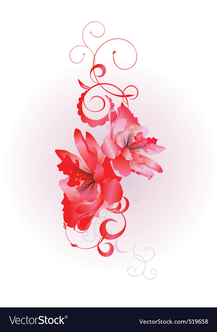 Ctor flowers with flourishes vector | Price: 1 Credit (USD $1)