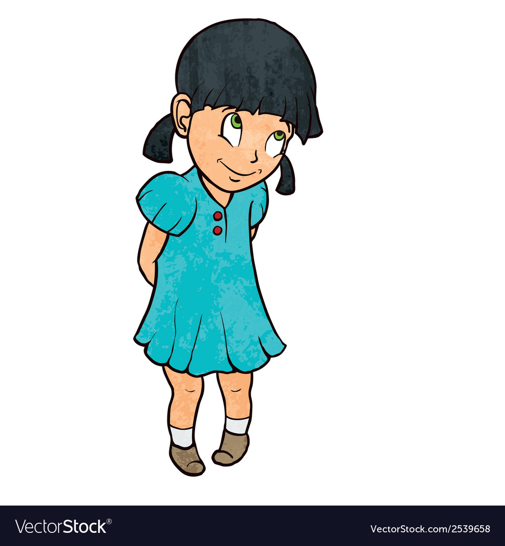 Cute shy cheerful little girl in blue dress vector | Price: 1 Credit (USD $1)