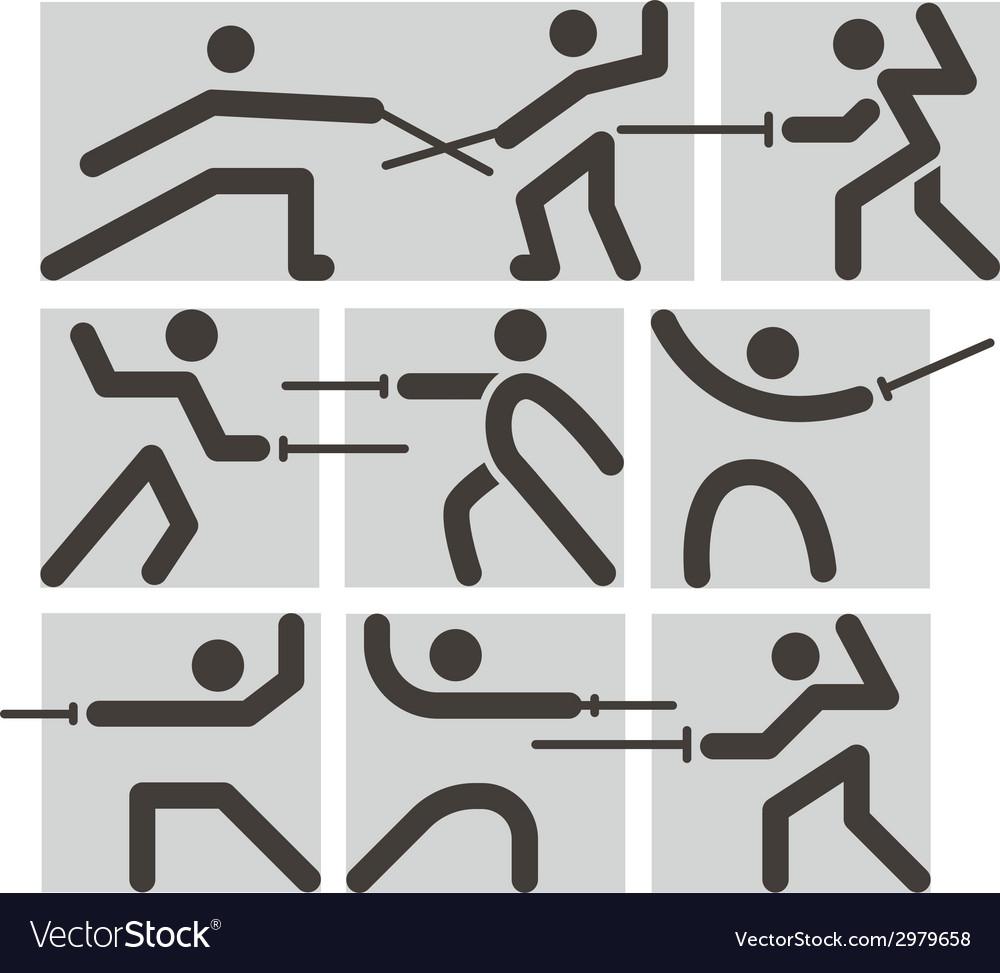 Fencing icons vector | Price: 1 Credit (USD $1)