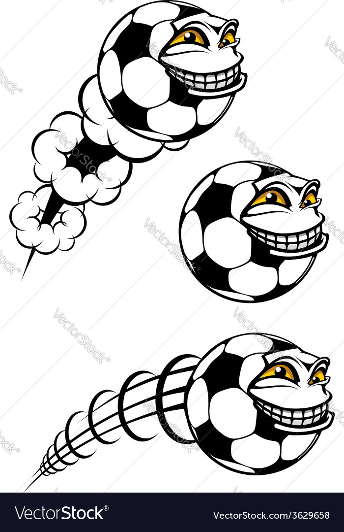 Flying cartooned soccer or football ball vector | Price: 1 Credit (USD $1)